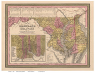 Maryland 1849 Mitchell - Old State Map Reprint