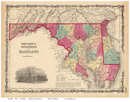 Maryland 1860 Johnson - Old State Map Reprint