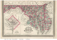 Maryland 1870 Johnson - Old State Map Reprint