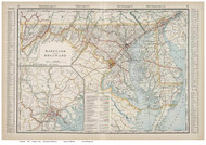 Maryland 1901 Cram - Old State Map Reprint