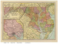 Maryland 1909 Cram - Old State Map Reprint