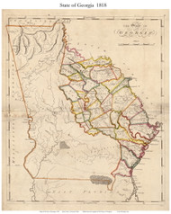 Georgia 1818 Carey - Old State Map Reprint