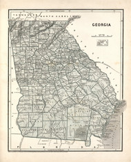 Georgia 1839 Burr - Old State Map Reprint