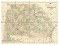 Georgia 1841 Morse - Old State Map Reprint