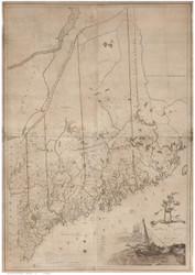 Maine 1802 Carleton - Old State Map Reprint