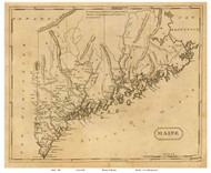 Maine 1812 Arrowsmith - Old State Map Reprint