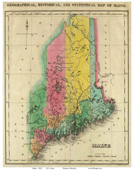 Maine 1822 Carey - Old State Map Reprint