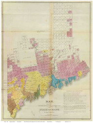 Maine 1829 Greenleaf - Old State Map Reprint