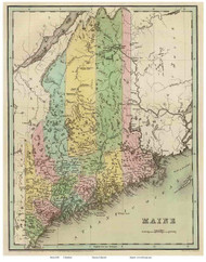 Maine 1838 Bradford - Old State Map Reprint