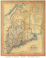 Maine 1846 Mitchell - Old State Map Reprint