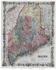Maine 1853 Colton - Old State Map Reprint