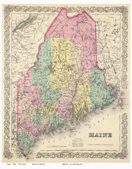 Maine 1856 Colton - Old State Map Reprint