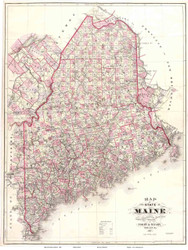 Maine 1887 Colby - Old State Map Reprint