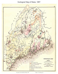 Maine 1887 Hitchcock - Old State Map Reprint