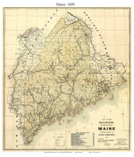 Maine 1899 Railroad Commionsioners - Old State Map Reprint