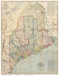 Maine 1900 Cram - Old State Map Reprint