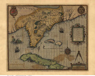 Florida 1591 Le Moyne - Old State Map Reprint