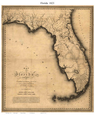 Florida 1823 Vignoles - Old State Map Reprint