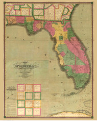 Florida 1829 Searcy - Old State Map Reprint