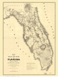 Florida 1839 Zachary Taylor - Old State Map Reprint