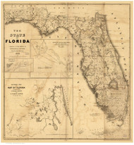 Florida 1846 Bruff - LC - Old State Map Reprint