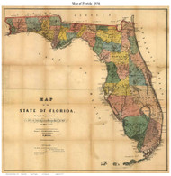 Florida 1856 Drew - Old State Map Reprint
