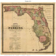 Florida 1874 Drew - Old State Map Reprint
