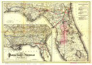 Florida 1882 Colton - Old State Map Reprint