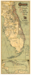 Florida 1893 Railroad Map - Old State Map Reprint