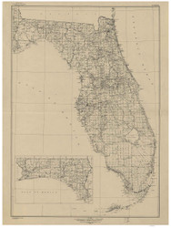 Florida 1940 U.S. Geological Survey - Old State Map Reprint