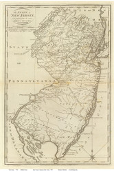 New Jersey 1796 Carey - Old State Map Reprint