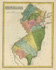 New Jersey 1816 Lucas - Old State Map Reprint