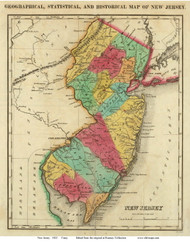 New Jersey 1822 Carey - Old State Map Reprint