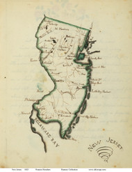New Jersey 1823 Henshaw - Old State Map Reprint