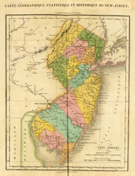 New Jersey 1825 Buchon (Map Only) - Old State Map Reprint