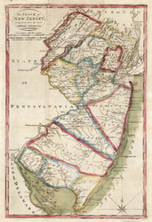 New Jersey 1827 DeSilver - Old State Map Reprint