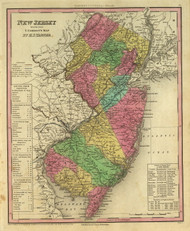 New Jersey 1836 Tanner - Old State Map Reprint