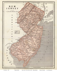 New Jersey 1845 Gordon - Old State Map Reprint