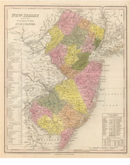 New Jersey 1845 Tanner - Old State Map Reprint
