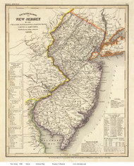 New Jersey 1846 Meyer - Old State Map Reprint