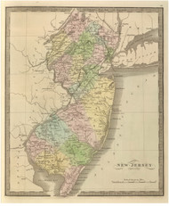 New Jersey 1848 Greenleaf - Old State Map Reprint