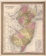 New Jersey 1850 Mitchell - Old State Map Reprint
