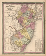 New Jersey 1853 Mitchell - Old State Map Reprint
