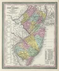 New Jersey 1855 Mitchell - Old State Map Reprint