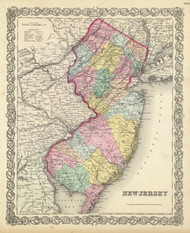New Jersey 1856 Colton - Old State Map Reprint