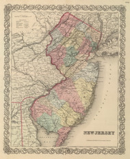 New Jersey 1857 Colton - Old State Map Reprint