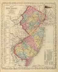 New Jersey 1859 Mitchell - Old State Map Reprint