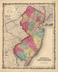 New Jersey 1860 Johnson - Old State Map Reprint