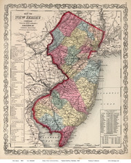 New Jersey 1860 Mitchell - Old State Map Reprint