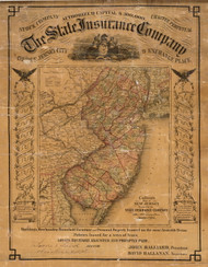 New Jersey 1863 Colton - Old State Map Reprint